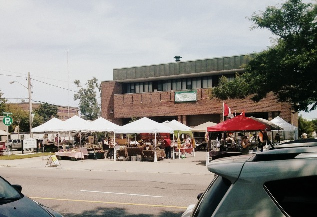 Multiple tents are set up for the Whitby Farmers Market held in Downtown Whitby, Ontario