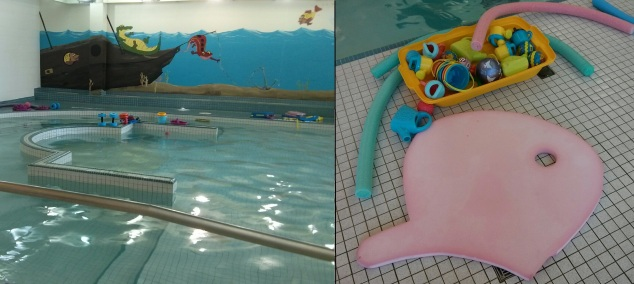 A view of the baby pool and the toys used in the Starfish swimming class