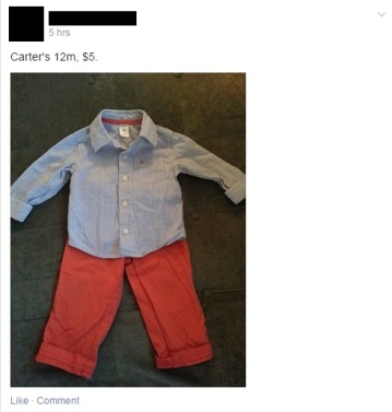 Sample Baby Outfit Listing in the Facebook Buy Sell and Swap groups