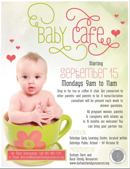 The official Uxbridge Baby Cafe flyer