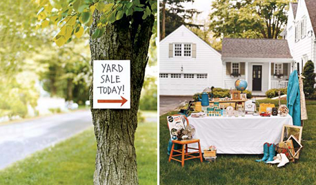 Photos of a yard sale sign and a table set up in a front yard selling various items
