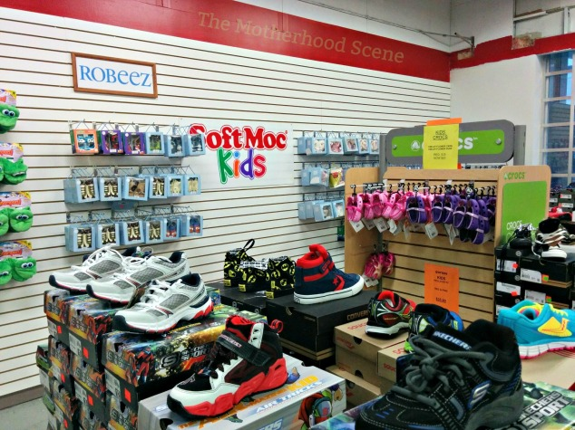 A view of the kids and baby section at the Soft Moc Outlet in Whitby