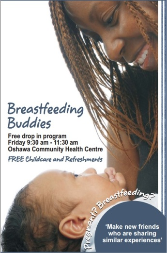 A poster for the Breastfeeding Buddies Oshawa Support Group