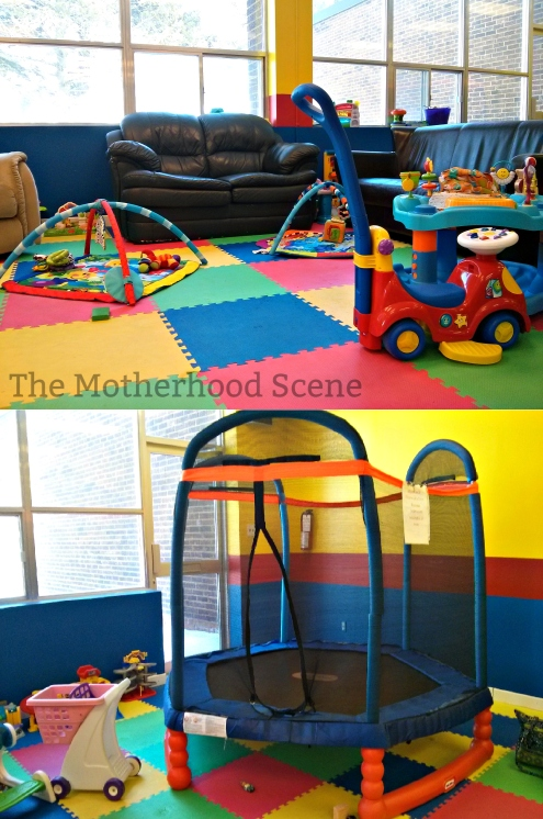 Two photos of the area inside Boomers Play Place. One view of the couches and infant toys, one view of the small indoor trampoline