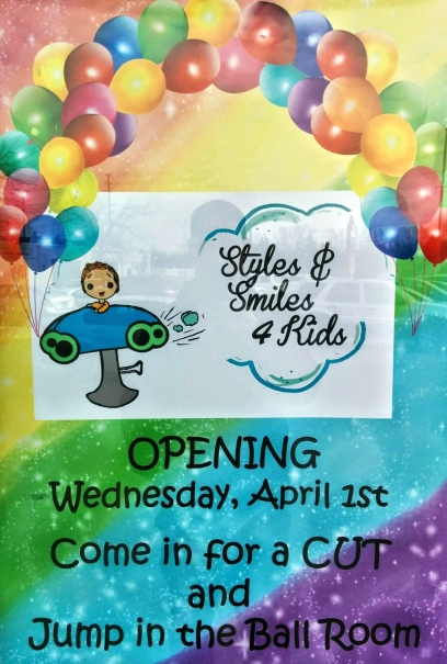 A poster advertising the grand opening of the Styles and Smiles salon in Pickering