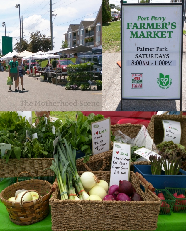 A couple strolls past a series of stalls at the Farmers Market; a sign for the market listing operating hours; a photo of vegetables and herbs on display